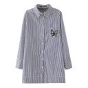 Cartoon Cat Embroidery Thin Stripe Midi Shirt
