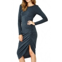V-Back Dark Blue Knitting Elastic Slim Ruched Detail Asymmetric Hem Dress