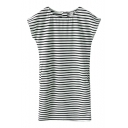 Round Neck Horizontal Stripe Pattern Short Sleeve Dress