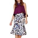 Leopard Print High Waist Ruffle Hem Flare Skirt
