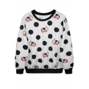 Mr.Rabbit&Clock&Polka Dot Print White Sweatshirt