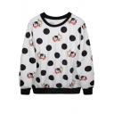 Mr.Rabbit&Clock&Polka Dot Print White Sweatshirt