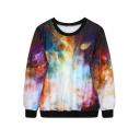 Psychedelic Space Print Sweatshirt
