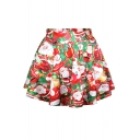 Cute Santa Clause Print Pleated Mini Skirt