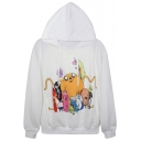 Adventurous Cartoon Print White Hoodie