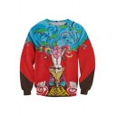 Wave&Animal King Print Red Sweatshirt