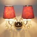 Sparkling Crystal Accented Two Light Wall Sconce Topped with  Fuchsia Fabric Hardback Shades