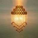 Stunning Contemporary Crown-Shaped Three-light Wall Sconce Adorned with Strands of Clear and Red Crystal Beads