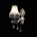 Ravishing Polished Silver Finish Plate Pairs with Grey Fabric Bell Shade Add Charm to Decorative Single Light Wall Sconce