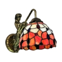 Glamorous Orange Tiffany Glass Shade 12 Inches Wide Single Light Wall Sconce