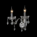 Magnificent All Clear Crystal Wall Light Fixture Featured Delicate Plates and Decorative Crystal Droplets