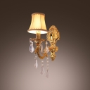 Delicate Single Wall Light Completes with White Fabric Shade and Clear Crystal Drops