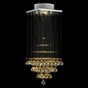 Square Gorgeous Amber Crystal Rain Cloud Foyer Chandelier Ceiling Light