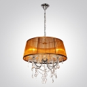 Chandelier Features Brown Fabric Shade with Hanging Clear Crystal Creates Magnificently Look