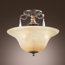 Glass Bowl Crystal Semi Flush Mount in Antique Black Finished and Sparkling Crystal Drops