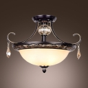 Black Wrought Iron Curving Arms Amber Crystal Globe and Droplets Semi Flush Mount
