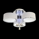 Romantic White Acrylic Shade 3-Light Contemporary Flush Mount Accented by Amber Crystals