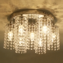 Sparkling Crystal Strands Shade  Flush Mount Light with 15.7
