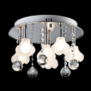 Romantic White Flower Shade Round 6-light Flush Mount Accented by Crystal Balls