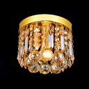 Warm Golden Small Flush Mount Suspended Stunning Crystal Prisms and Balls