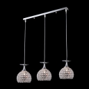 Brilliant Design Crystal Beaded Bowl Shade Multi-Light Pendant  with Rectangular Canopy