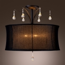 Black Fabric Drum Shade Pairs with Clear Crystal Drops Add Mystery to Splendid Semi-Flush Mount Light