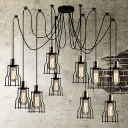 10-light Loft Style Wrought Iron LED Multi-light Long Pendant