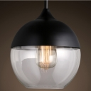 Ball Mini Industrial Black/White Socket Pendant Light