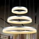 Modern Concise LED Round Silver Pendant Three Tiers