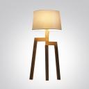 Brilliant Design Wood Base And Fabric Shaded Designer Floor Lamp