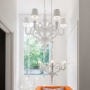 Paper Chandelier With Shade, All White Six-Light