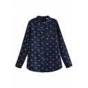 Dark Blue Background Bicycle Print Lapel Shirt