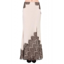 Eyelash Lace Panel Split Hem Ruffle Hem Beige Max Skirt