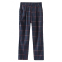 Navy Plaid Print High Rise Zippered Crop Pants