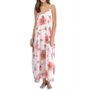 Summer Red Flower Print Double Layer Laid Back Longline Slip Dress