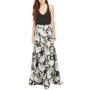Black Background White Floral Print Max Skirt