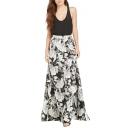 Black Background White Floral Print Max Skirt
