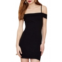 Spaghetti Off-the-Shoulder Sexy Black Sheath Dress