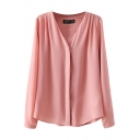 V-Neck Plain Concealed Button Fly Chiffon Shirt
