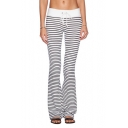Stripe Print Drawstring Waist Flare Legs Fitted Cotton Pants