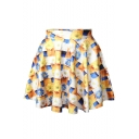 Sweet Tie Dye Print High Waist Pleated Mini Skirt