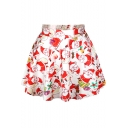 White Christmas Theme Print Pleated Mini Skirt