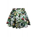 Christmas Tree Theme Print High Waist  Pleated Mini Skirt
