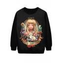 Blond Hair Girl with Rabbit Print Black Sweatshirt