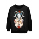 Alien Goose Skull Female Ghost Print Sweatshirt