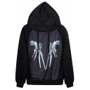 Halloween Scissorhands Print Hoodie with Long Sleeve