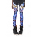 Owl Abstract Print Elastic Pencil Fitted Leggings