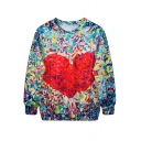 Diamond Heart Fantastic Color Print Sweatshirt
