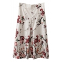 High Waist Red Blossom Print Elegant Style White Skirt