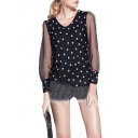 Polka Dot Print Round Neck Sheer Loose Sleeve Blouse